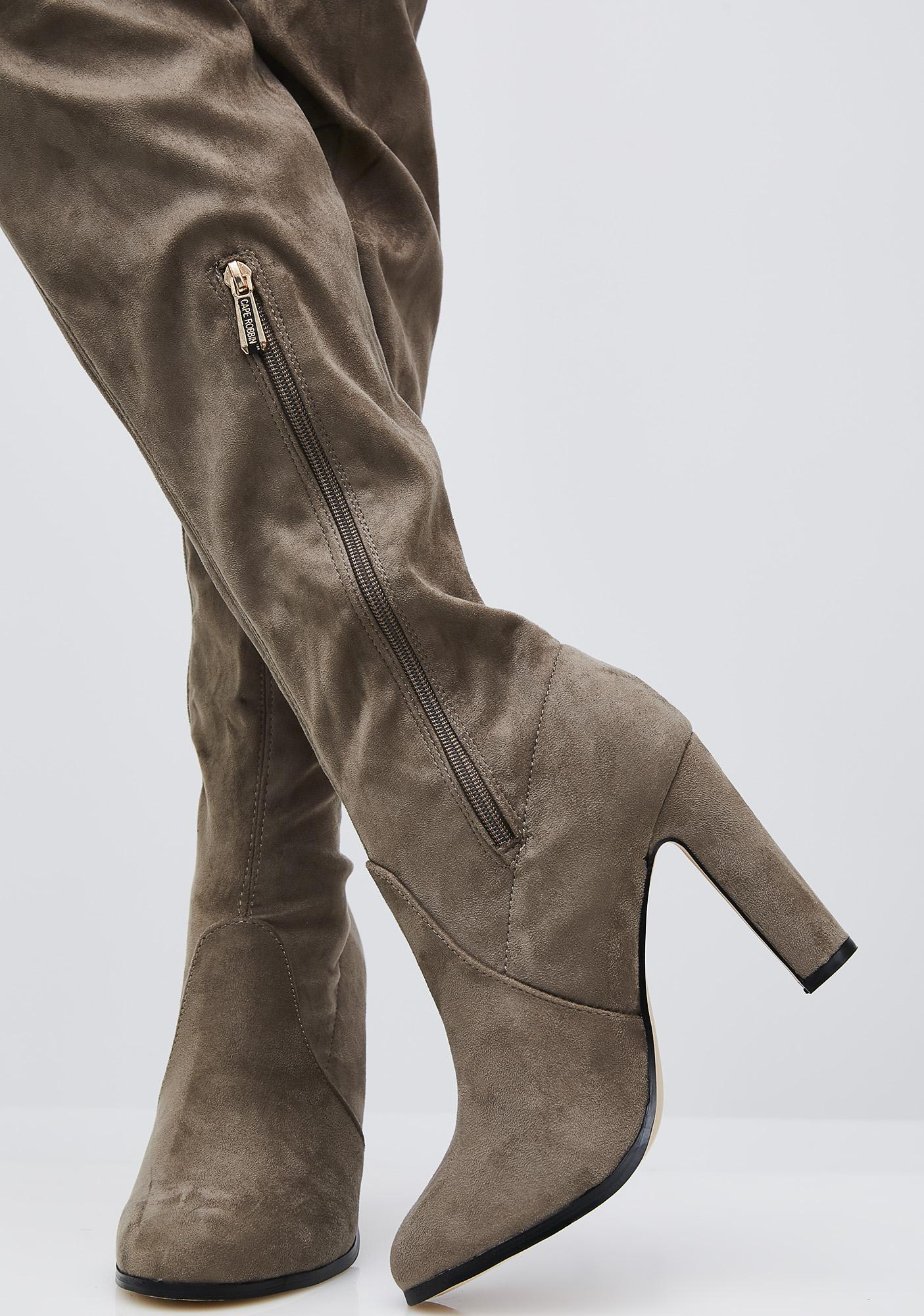 Taupe Silencer Thigh-High Boots
