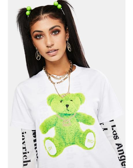 Lime Green Teddy Short Sleeve Graphic Tee