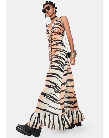 Ferocious Fancy Tiger Print Maxi Dress