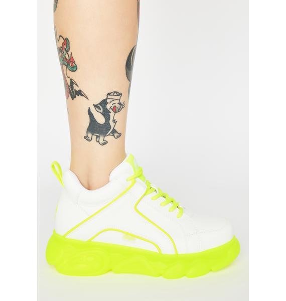 Buffalo White Neon Yellow Corin Platform Sneakers