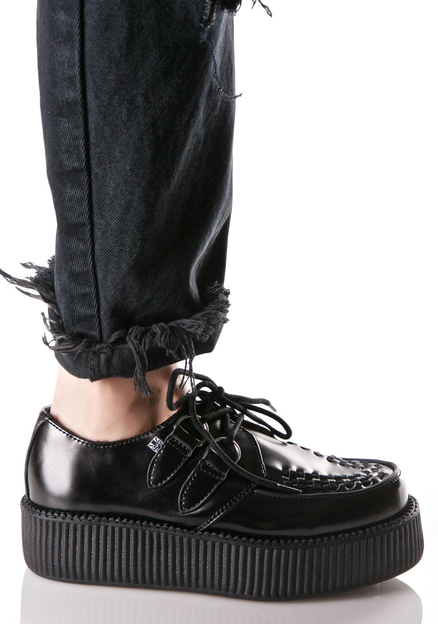 T.U.K. Black Leather Viva Mondo Creepers
