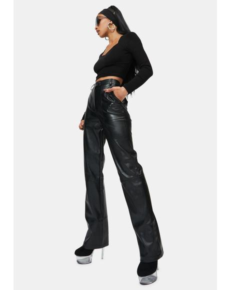 Black Kayden Vegan Leather Trousers
