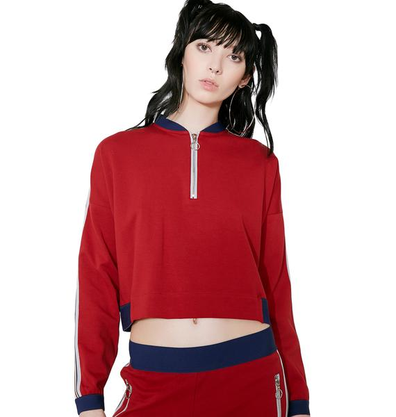 OKAYLA Crimson Sweat Top