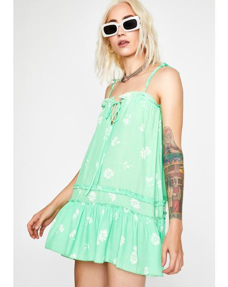 Lime Sweet Glade Babydoll Dress