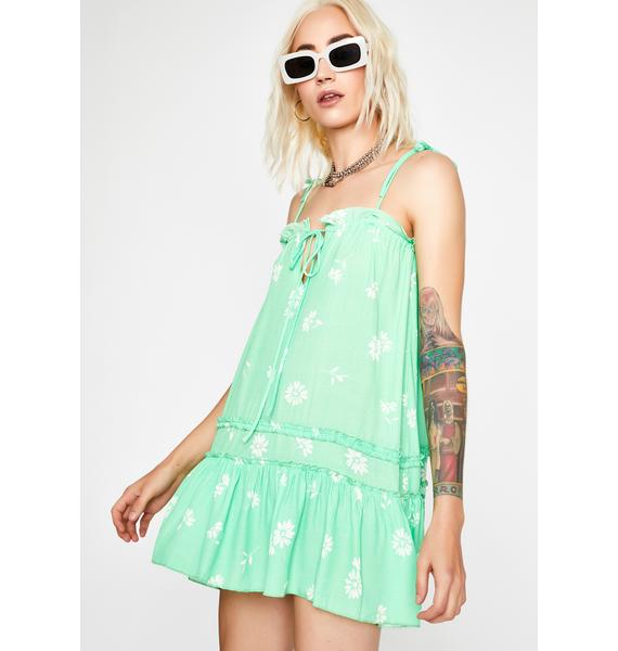 Lime Sweet Glade Babydoll Dress