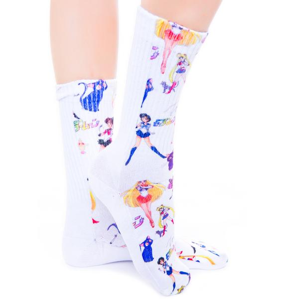 O Mighty Moon Prism Power Sailormoon Socks