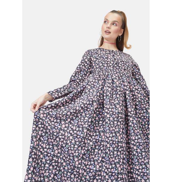 Little Sunny Bite Black Original Floral Long Dress