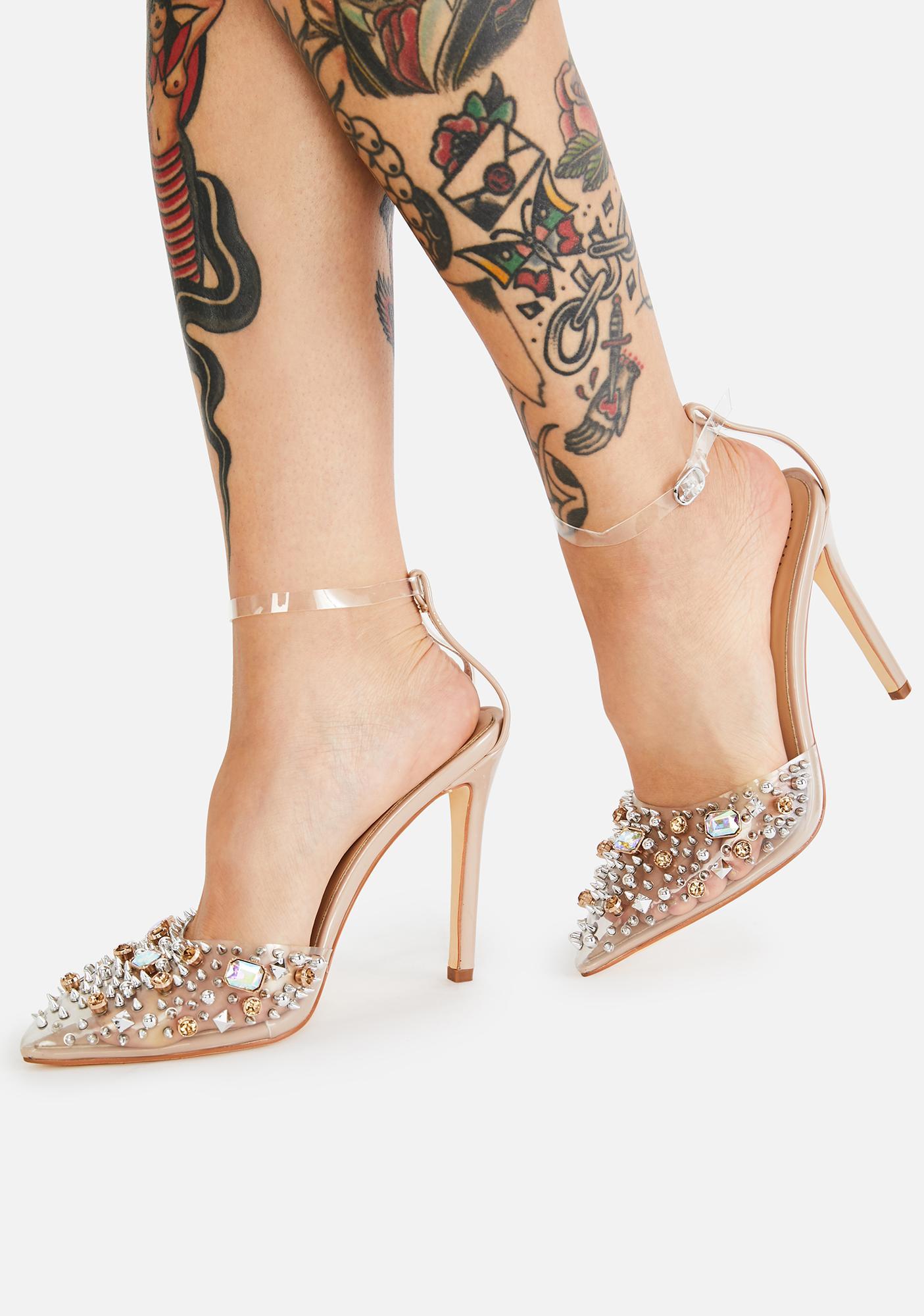 AZALEA WANG Nude Popstar Jeweled Heels