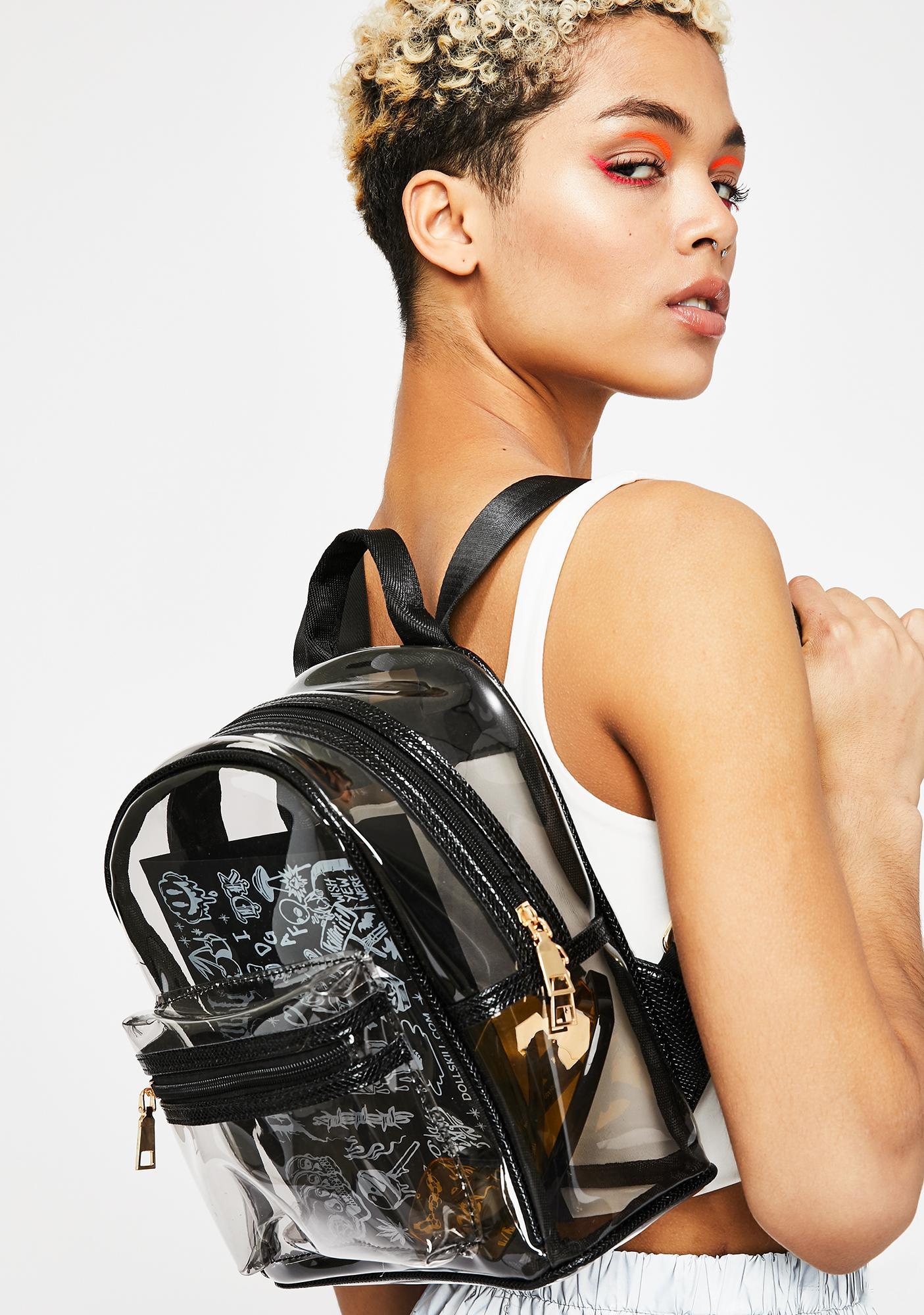 166231d50 Clear Snakeskin Trim Backpack | Dolls Kill