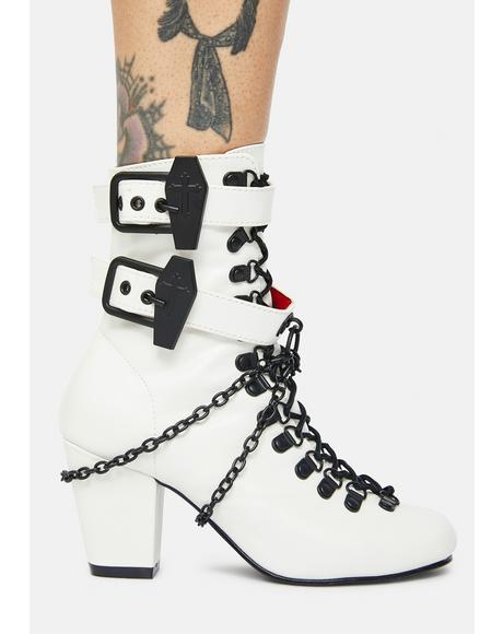 White Lost Tomb Chain Lace Up Boots