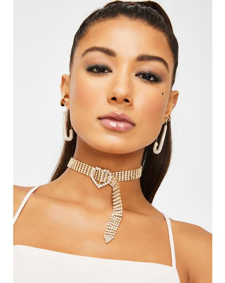Golden Hearted Rhinestone Choker