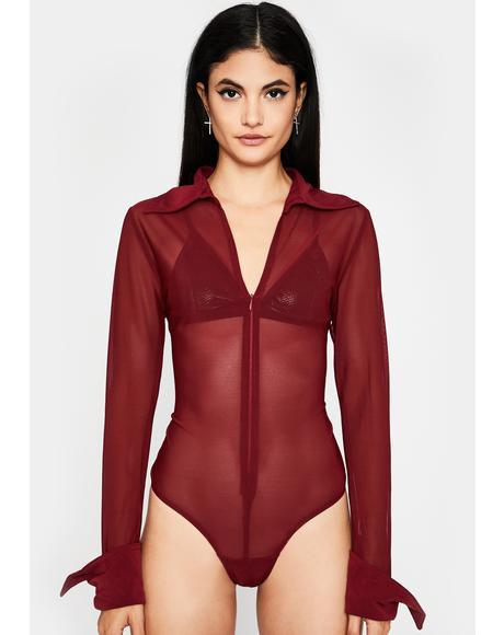 Hott Movin' Up Collared Bodysuit