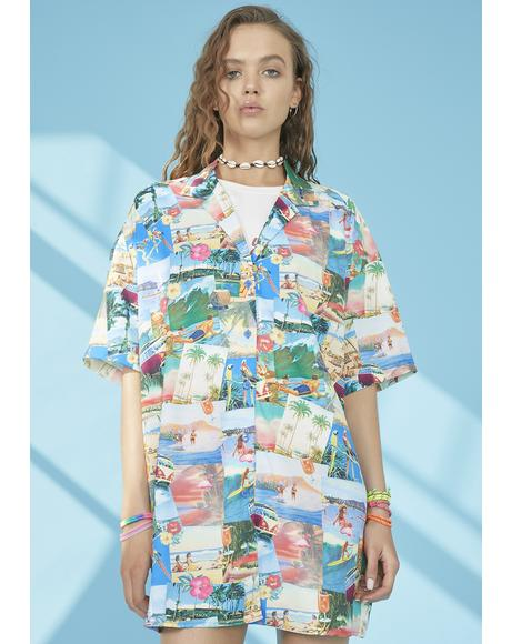 Greetings From Paradise Shirt Dress