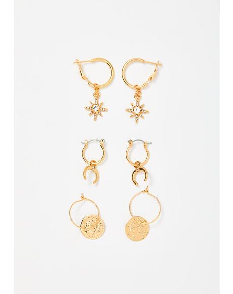 Celestial Fortune Earrings Trio Set