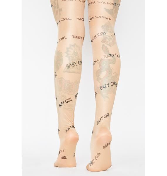Be Ur Babygirl Printed Tights