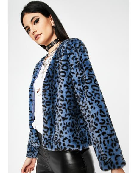 Azure Wild Style Fuzzy Jacket