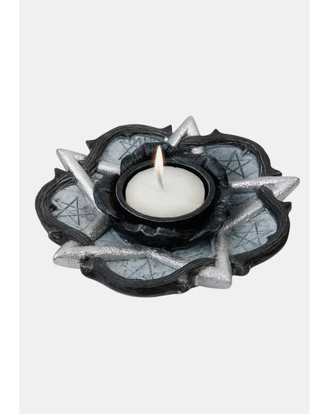 Pentagram And Rose Tealight Candle Holder