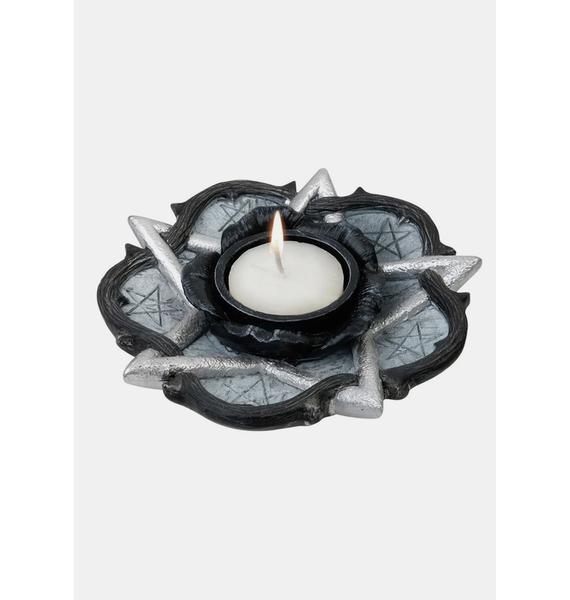 Alchemy England Pentagram And Rose Tealight Candle Holder
