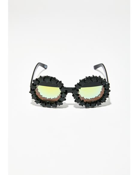 Goth Starry Eyed Round Sunglasses