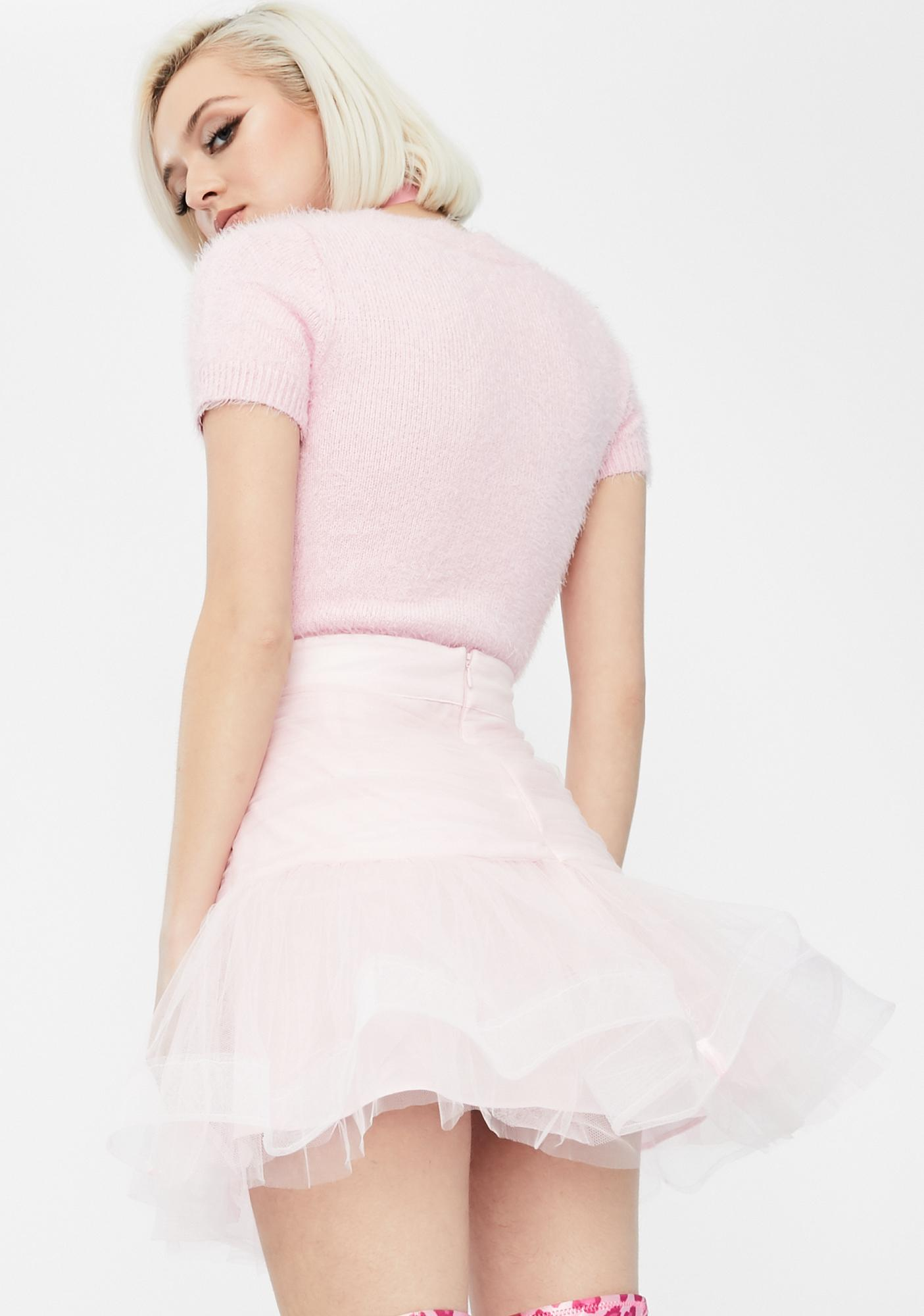 Dyspnea Pink Pussy Peach Mini Skirt