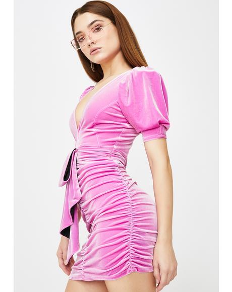 Pink Lola Velvet Mini Dress