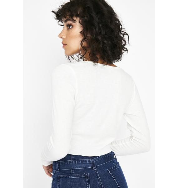 Icy No Hard Times Henley Crop Top