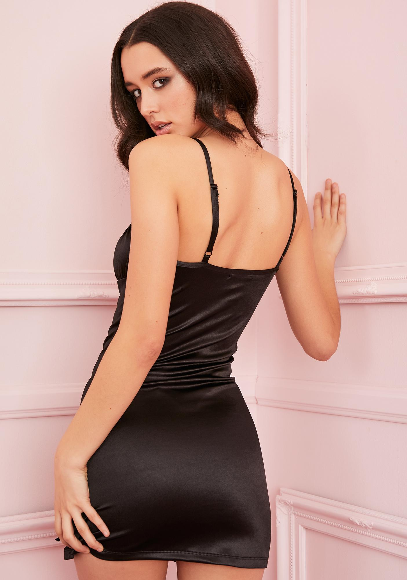 Sugar Thrillz Noir Cupid's Crush Satin Dress