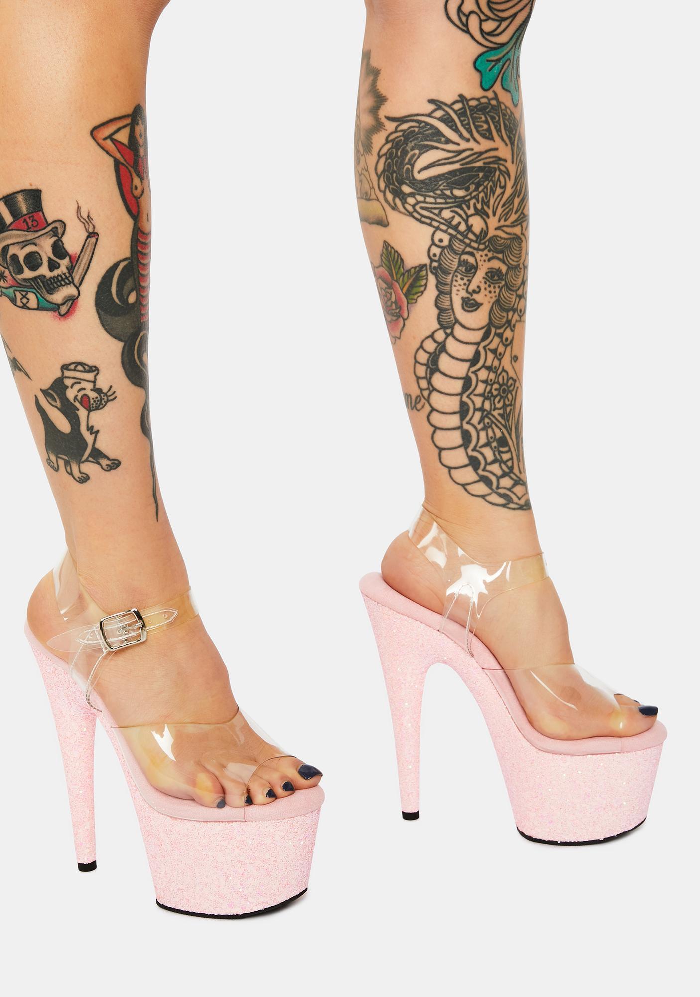 Pleaser Time After Time Platform Glitter Heels