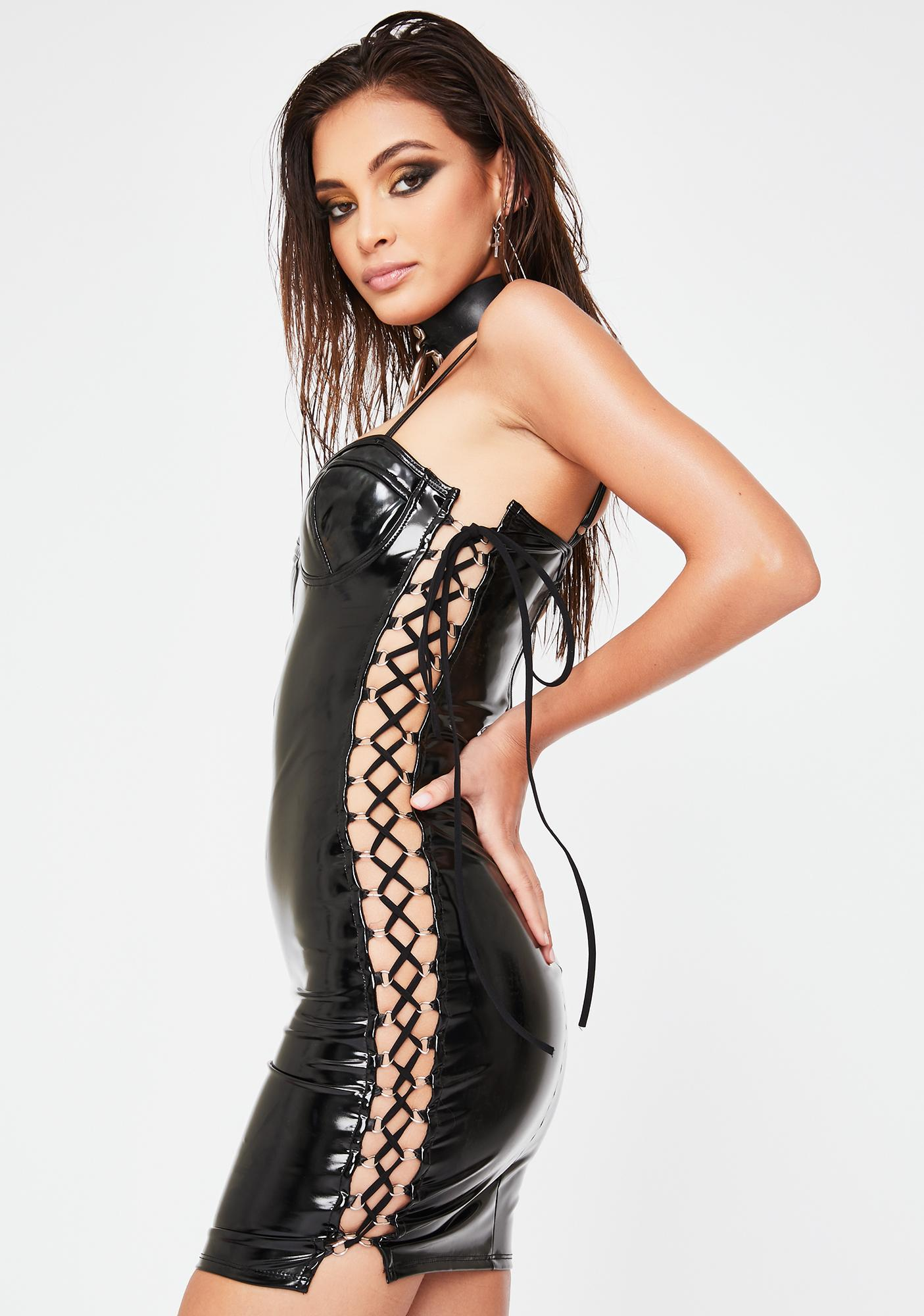 Forplay Something On The Side Vinyl Dress