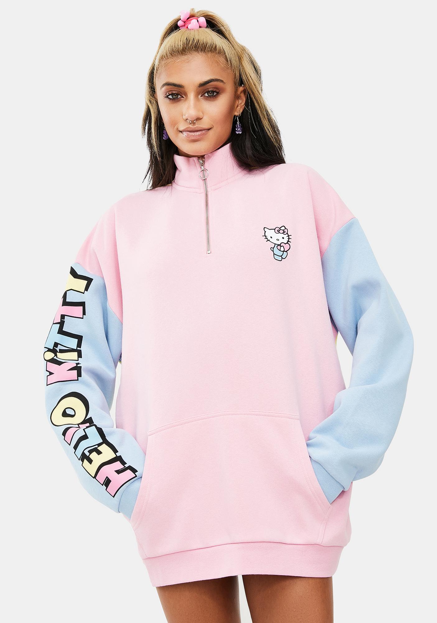 NEW GIRL ORDER Hello Kitty Color Contrast Panel Sweatshirt