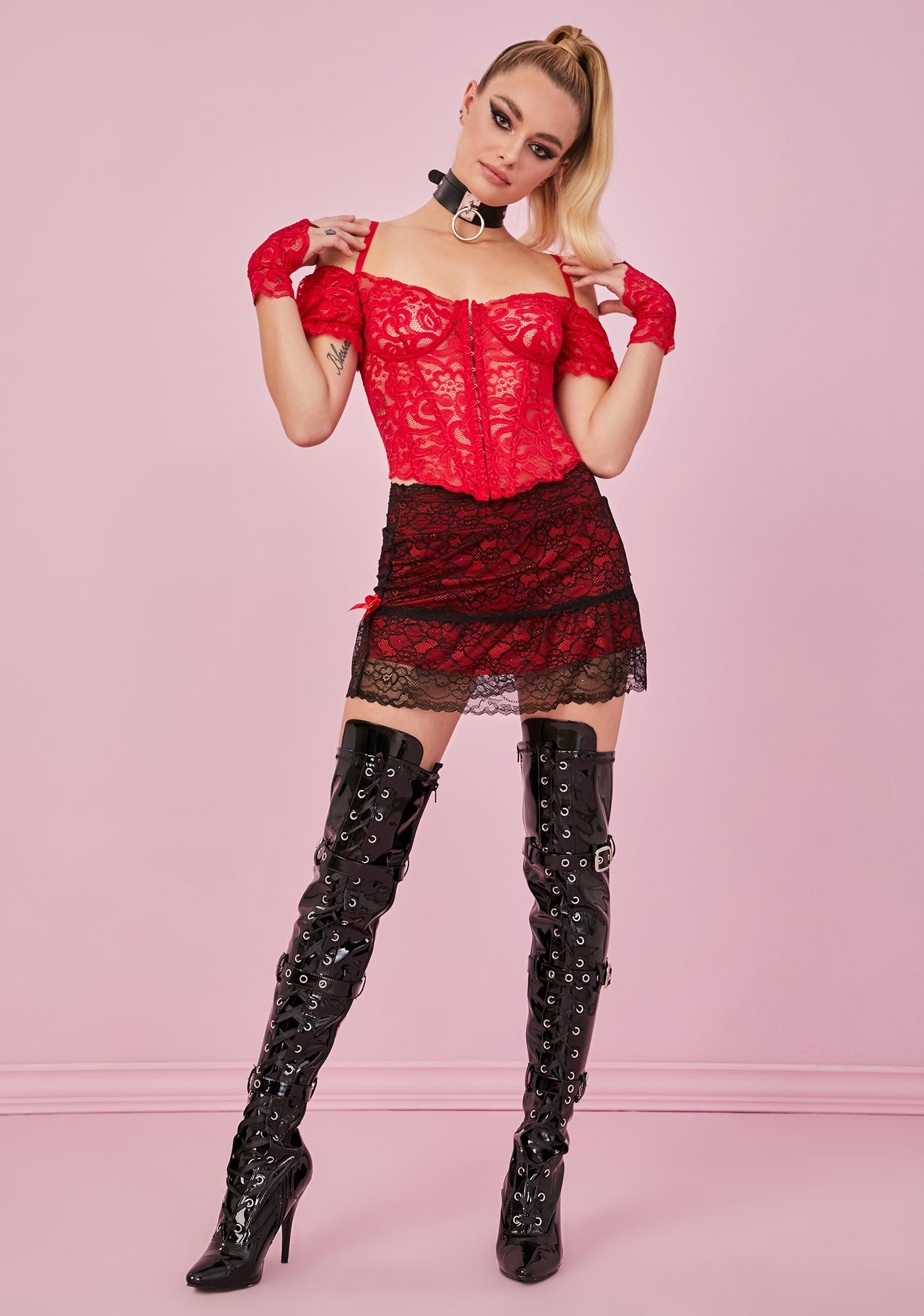 Sugar Thrillz Ruby Yours Truly Lace Corset & Gloves