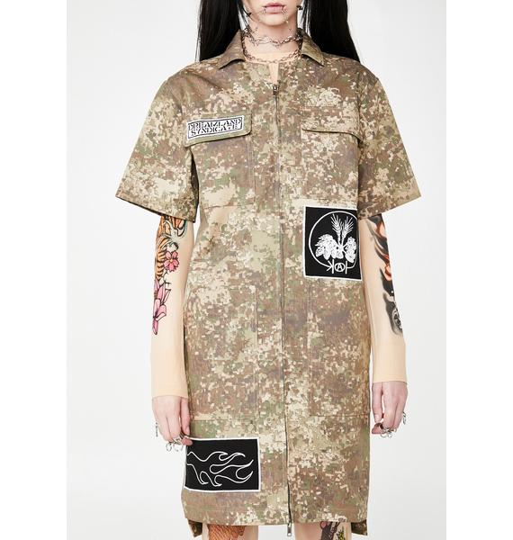 Dreamland Syndicate Camo Zipper Dress With Patches