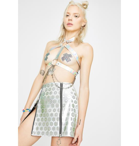 Club Exx Moon Phase Holographic Skirt