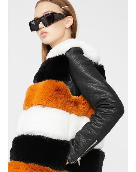 Jenny Lin Long Faux Fur Vest