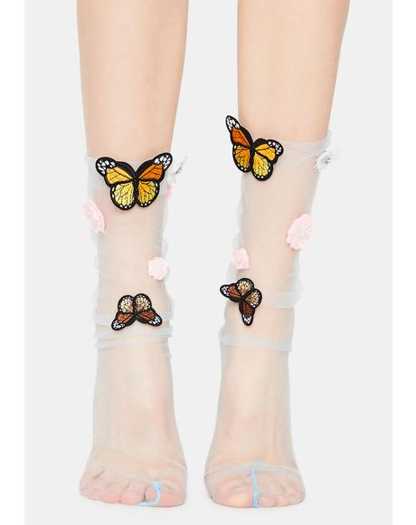 Hidden Garden Sheer Butterfly Socks