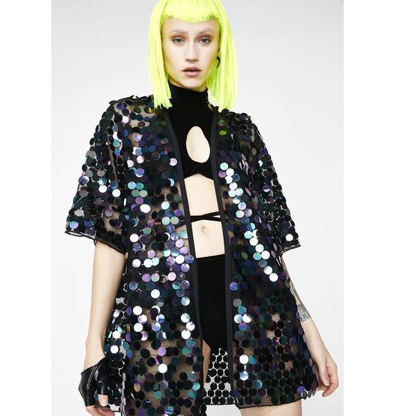 Rolita Rave Couture Magical Land Iridescent Black Kimono