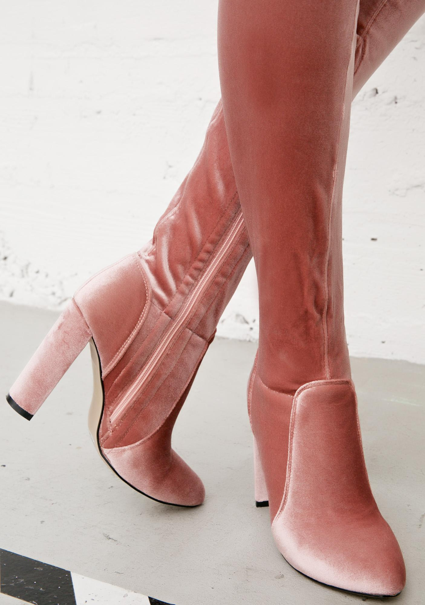 Glamorous Everlasting Blush Velvet Thigh-High Boots