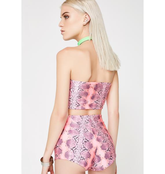 Soulan Zee Pink Snake Skin Shorts