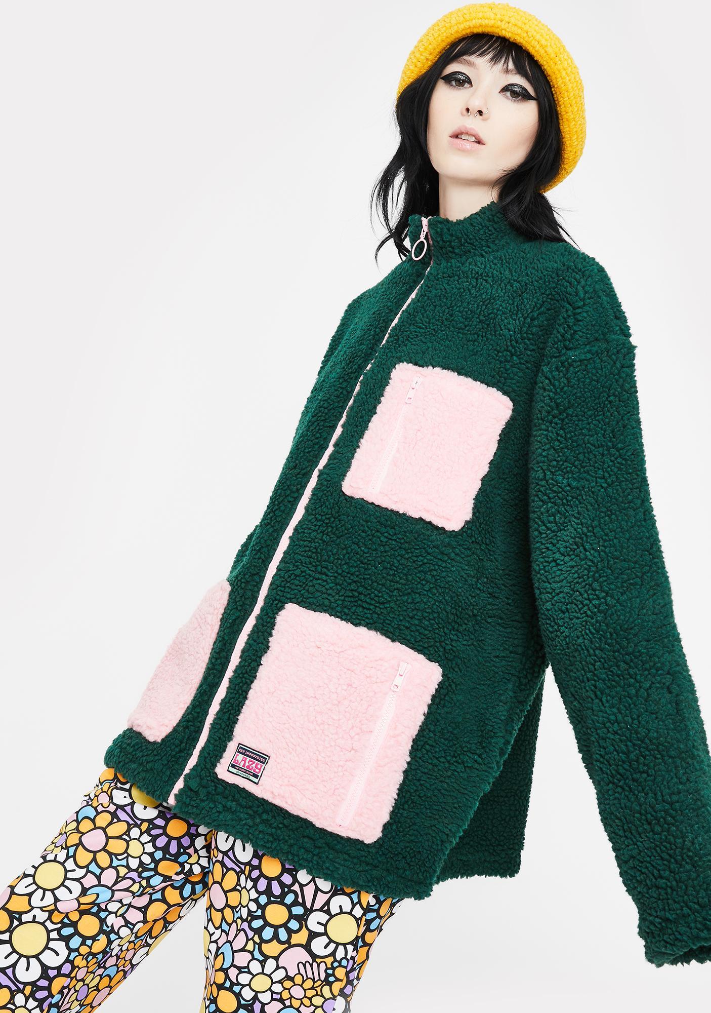 Lazy Oaf Forest Green Zip Up Fleece Jacket