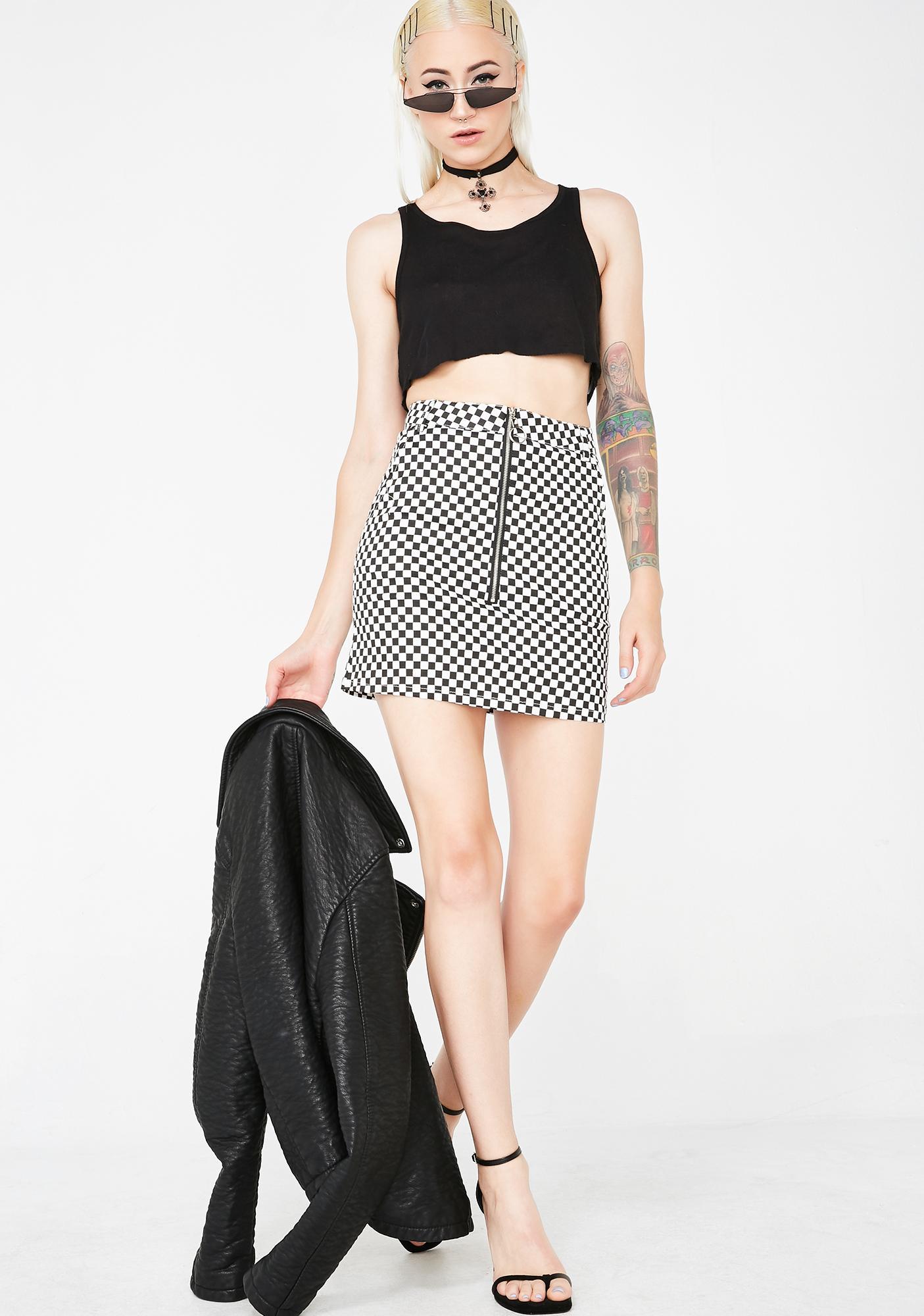 Past Midnight Checkered Skirt