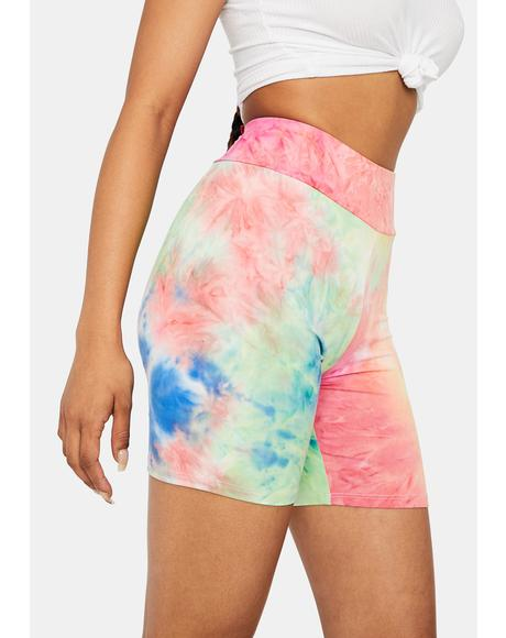 Chiller Vibes Tie Dye Biker Shorts