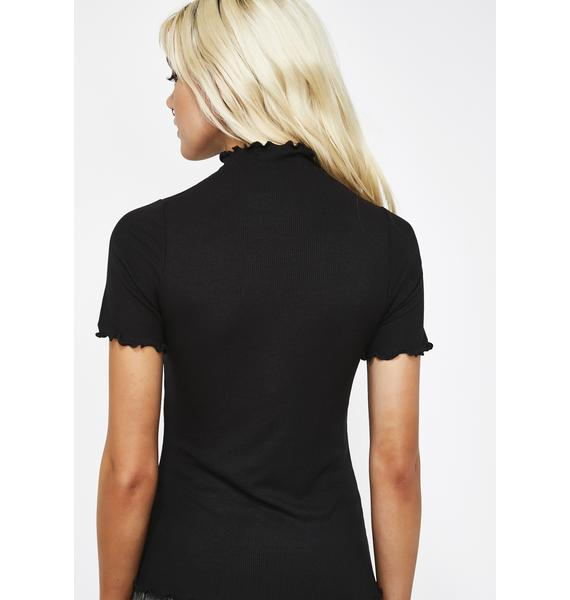 Midnight Be Here Mock Neck Top
