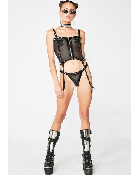 Baddie Temple Fishnet Set