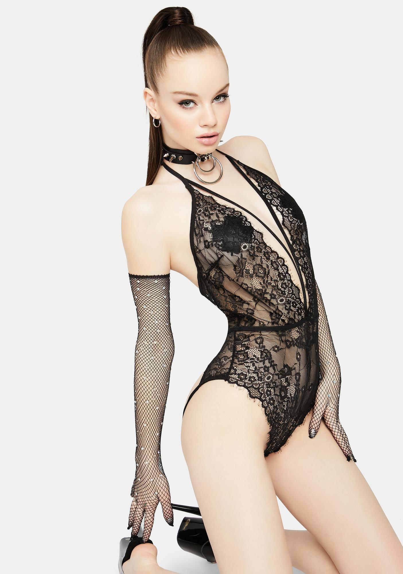 Down For It Plunging Lace Teddy