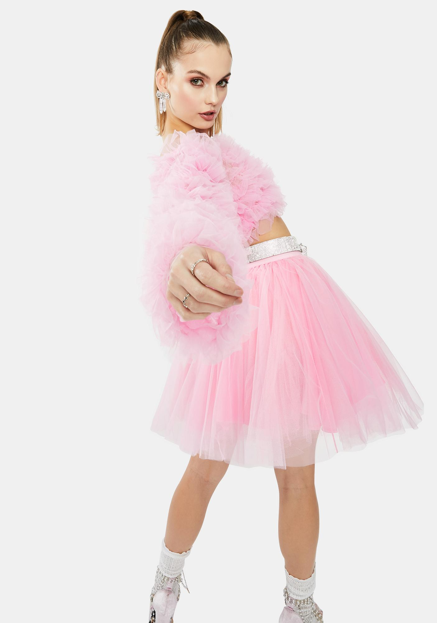 Kiki Riki Pink Tulle Long Sleeve Ruffle Crop Top
