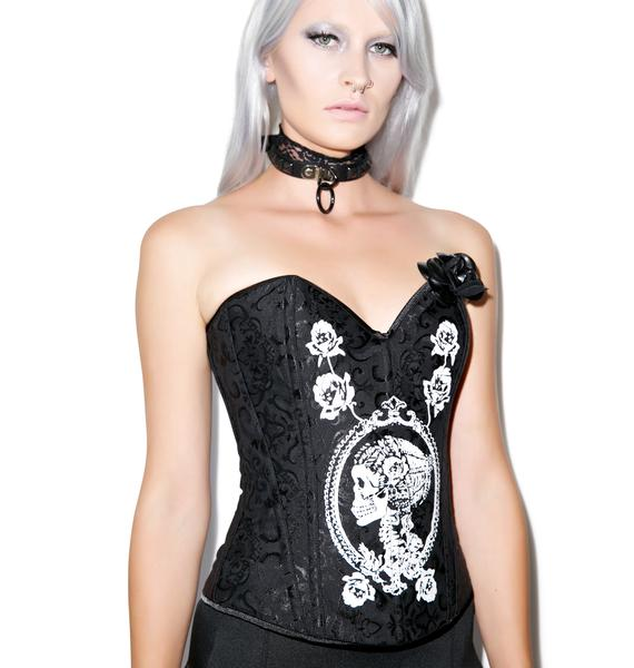 Skulls n' Roses Brocade Corset