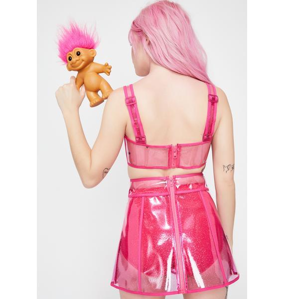 Good Luck Trolls x Dolls Kill Troll Clear Gem Skirt