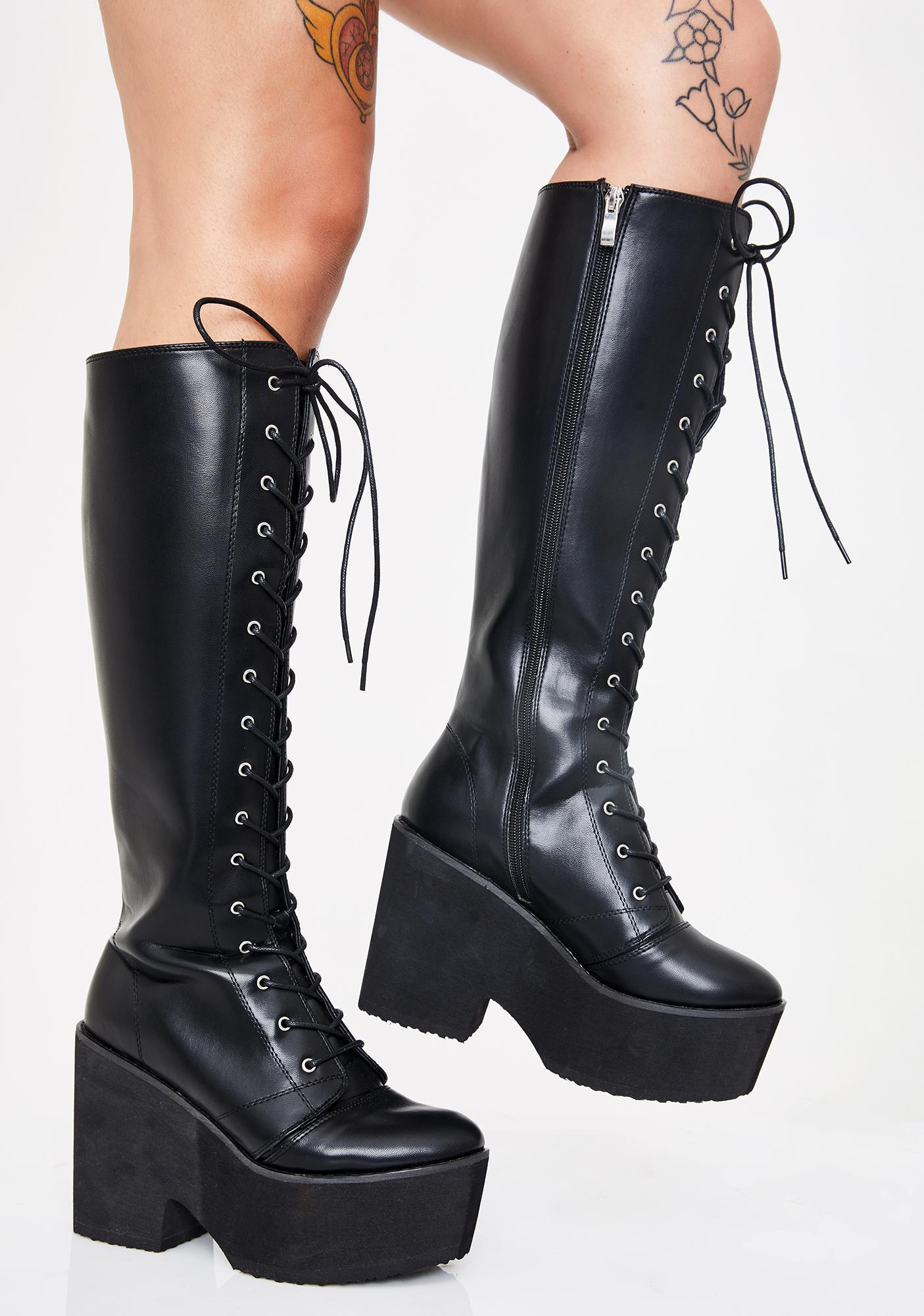 Platform Combat Lace Up Knee High Boots