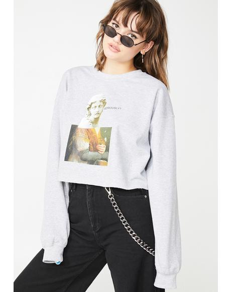 Seriously Graphic Cropped Sweater