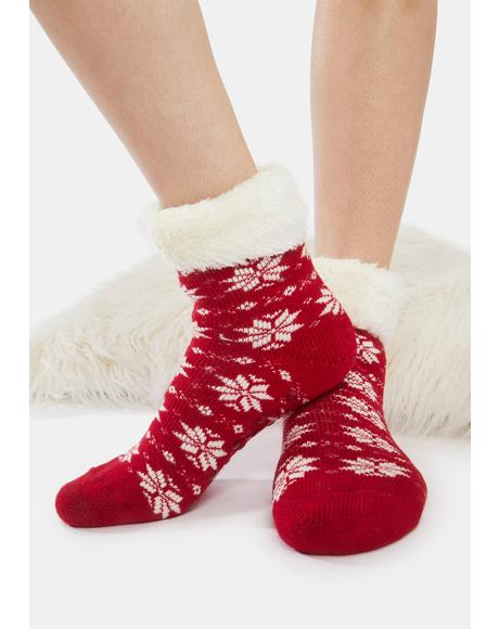 Snowflake Fairy Plush Socks